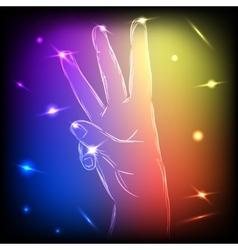Neon Hand Three Fingers vector