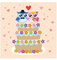 owls couple and wedding cake vector image