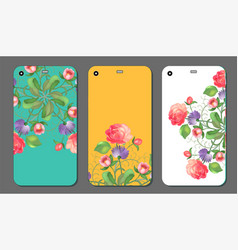 phone cover collection with floral elements vector image