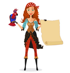 Pirate girl with scroll and a parrot vector