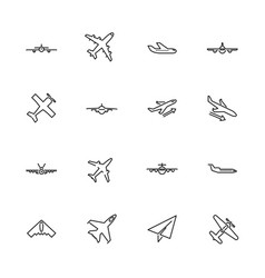 Planes- flat line icons vector