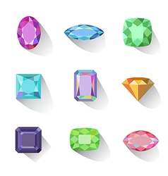 Popular colored outline jewelry gems cuts vector