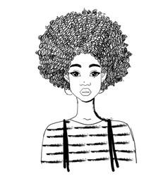Portrait a beautiful black woman linear vector