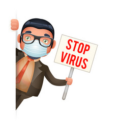 protective medical face mask businessman look out vector image