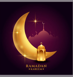 Ramadan kareem background with golden moon vector