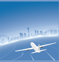 seattle skyline flight destination vector image