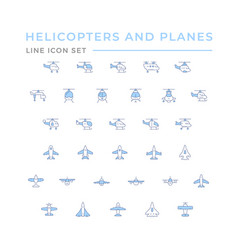 set color line icons helicopters and planes vector image