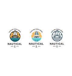 set nautical logo template logo vector image
