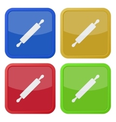 Set of four square icons with rolling pin vector