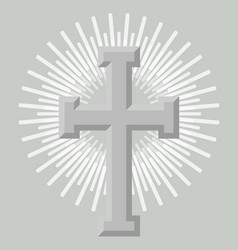 silver holy cross icon isolated vector image