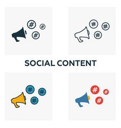 social content icon set four elements in diferent vector image