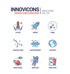 space exploration - line design style icons set vector image