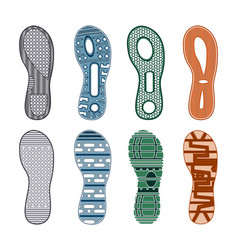 sport shoes footprints colored set vector image