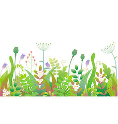 Spring floral seamless border with green plants vector