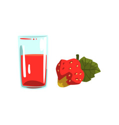 strawberry juice glass of natural vegetarian vector image