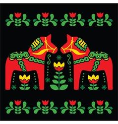 Swedish Dala or Daleclarian horse folk art pattern vector