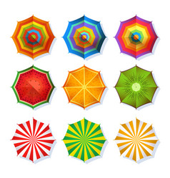 Top view picture of summer beach umbrella for vector