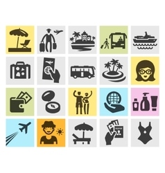 Travel set black icons signs and symbols vector
