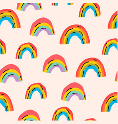 trendy colorful aesthetic rainbows seamless vector image