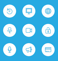 User outline icons set collection of history pin vector