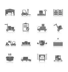 Warehouse icons black vector image