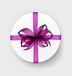 White box with magenta purple bow and ribbon vector