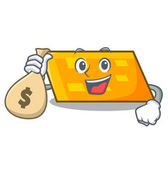 With money bag parallelogram character cartoon vector