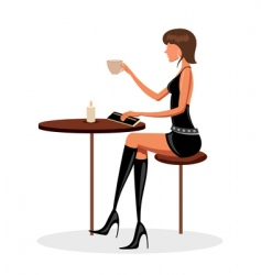 young lady in cafe vector image