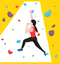 young woman bouldering in climbing wall vector image