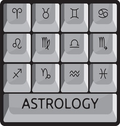 Zodiac astrology signs keyboard button set vector