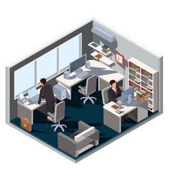 3d isometric interior office vector image