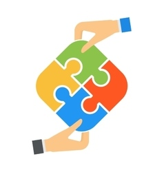 Hands and puzzle isolated solution business jigsaw vector image