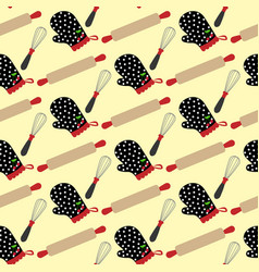 kitchen stuff and potholder pattern vector image vector image