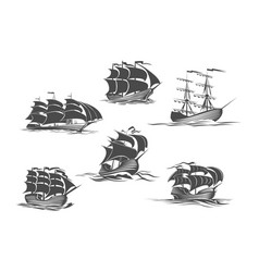 sailing ship sailboat yacht and brigantine icon vector image vector image