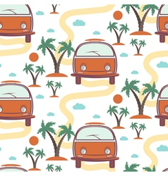 Seamless pattern of retro Bus with surfboard in vector image