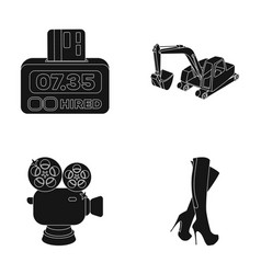 shoes services and or web icon in black style vector image