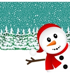 Snowman in the forest vector image vector image