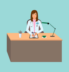young woman doctor taking a patients medical vector image