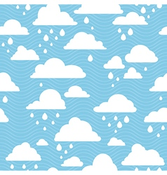 Blue sky with rainy clouds seamless pattern vector image