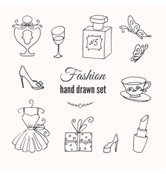 fashion hand drawn elements set Hand vector image