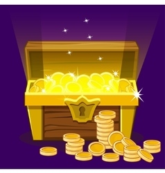 Opened antique treasure chest coin vector image vector image
