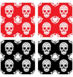 Playing Card and Skull Ornamental Pattern vector image vector image