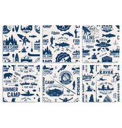 canoe kayak and fishing club seamless pattern vector image
