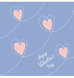 Dash line heart Happy Valentines day card Flat vector image