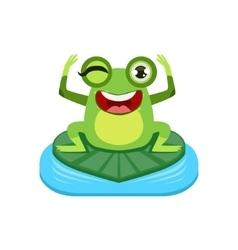 Happy Cartoon Frog Character vector image vector image