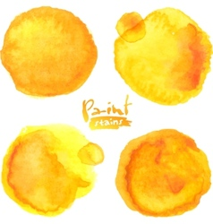 Yellow watercolor painted stains set vector image vector image