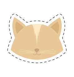 Face cat female head line dotted vector