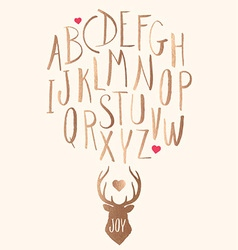 Hand Drawn Gold Leaf Letters and Stag with Hearts vector image vector image