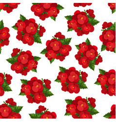 red flower with leaf floral seamless pattern vector image