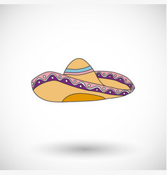 sombrero icon with round shadow vector image